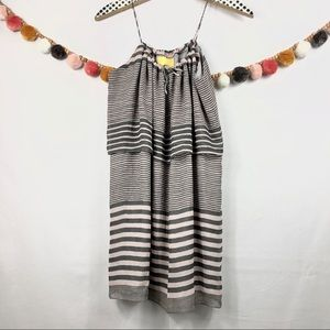 {Aaron Ashe} Pink & Grey Striped Dress